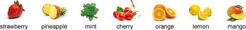 strawberry, pineapple, mint, cherry, orange, lemon, mango